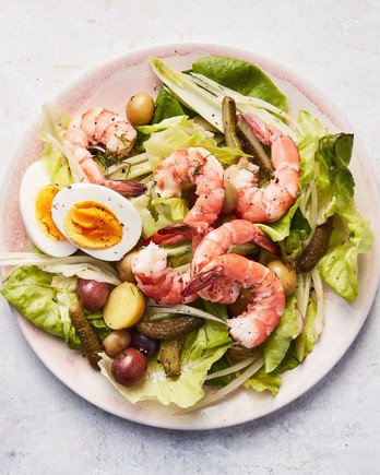 scandinavian shrimp salad served on a pink plate