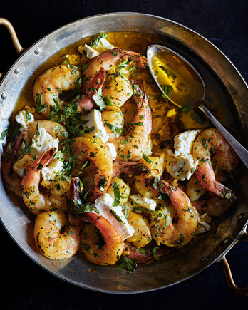 herby shrimp-and-feta-bake in skillet