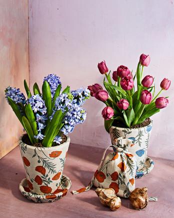 flower print linen pots and bag