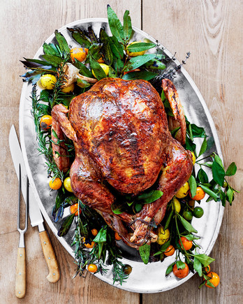 lemon-herb turkey with bay butter