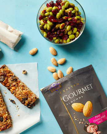 granola bar snacks blue diamonnd pink sea salt almonds edamame cranberry mix