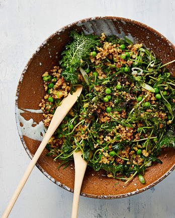 crispy grain salad peas mint