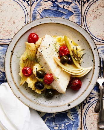 Oil-Poached Halibut with Fennel, Tomatoes, and Olives with mashed potatoes