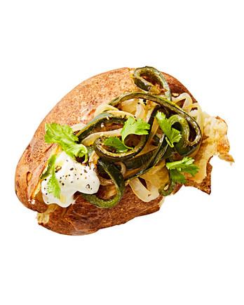 rajas with sour cream baked potato