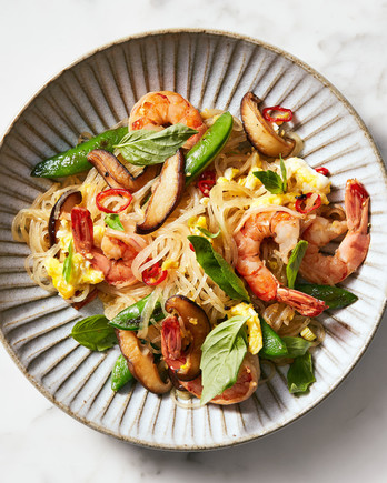 shrimp basil glass noodle stir fry