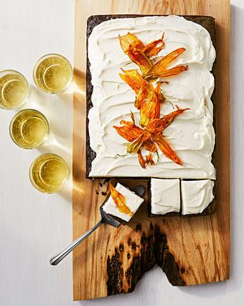 chocolate zucchini sheet cake with cream cheese frosting