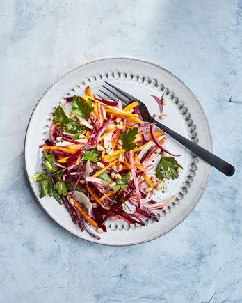 raw beet celery root salad