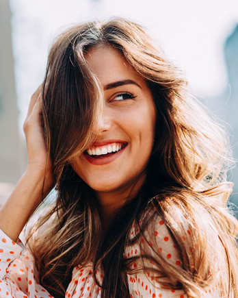 woman with long brown healthy hair