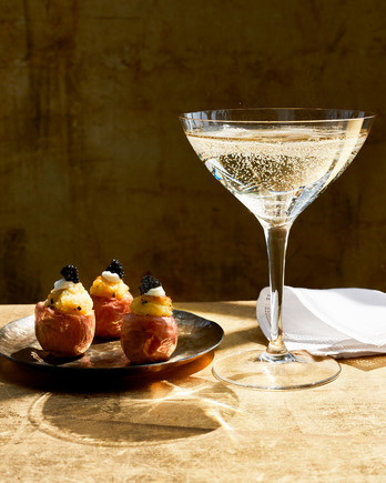 """Twice Baked"" Baby Potatoes with Caviar recipe"