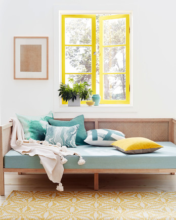bright yellow and celadon are having a home decor moment - Blue Color Living Room Designs