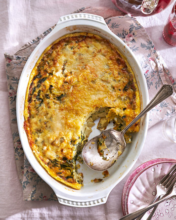 Cheesy Spinach-Potato Egg Casserole