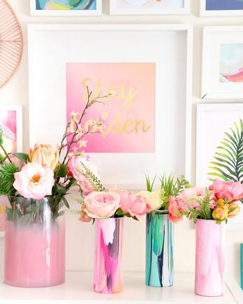 marbleized floral vase