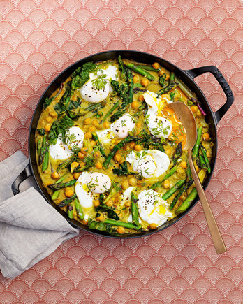 spring ragout with asparagus and poached eggs