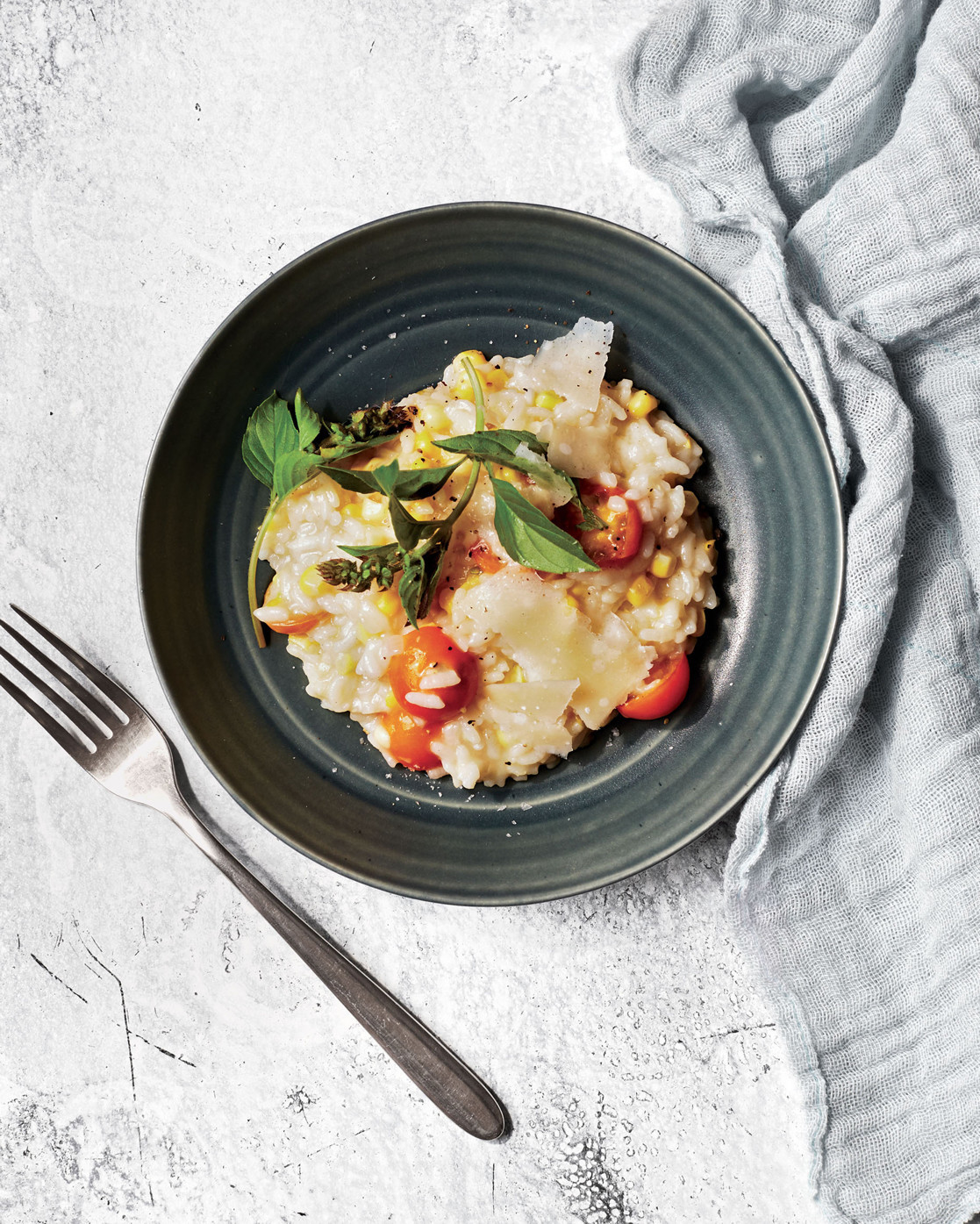 corn risotto with basil and tomato