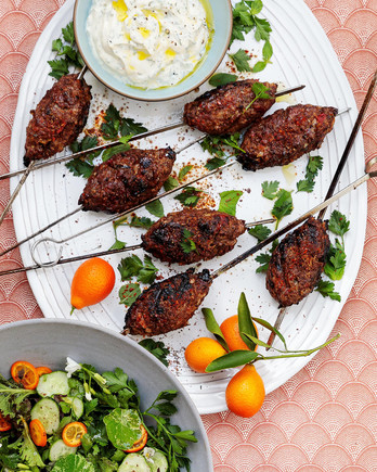 spiced lamb kebabs with herbed yogurt