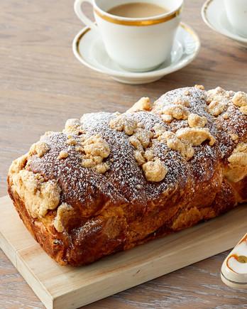 cheesecake babka loaf on cutting board