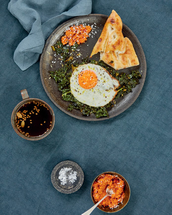 greens with coconut sambal fried egg