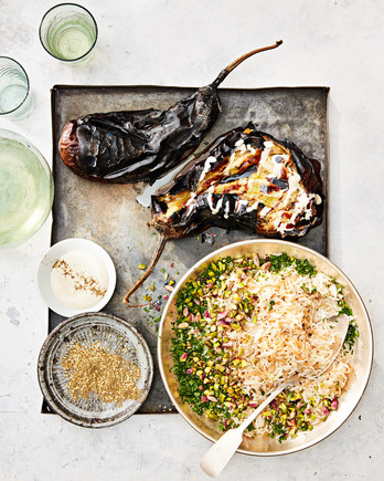 whole grilled eggplant with rice pilaf