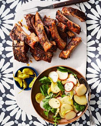 tuscan ribs with balsamic potato salad