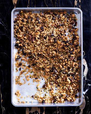 olive oil granola on sheet pan with dark chocolate