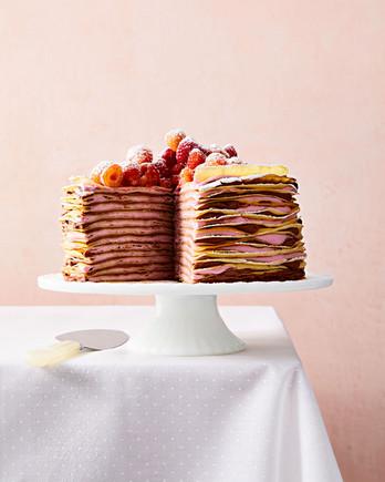 raspberry and chocolate hazelnut crepe cake
