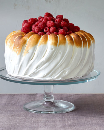 lemon mousse cake with raspberries