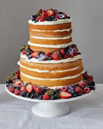 naked berry cake adorned martha bakes strawberries blueberries