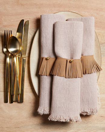 natural place setting napkin holder gold silverware