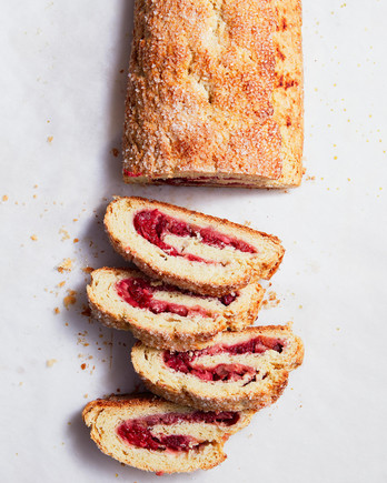 biscuit jelly roll with rhubarb and raspberries