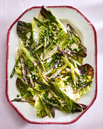 Little Gems, Asparagus, and Peas with Creamy Mustard Vinaigrette
