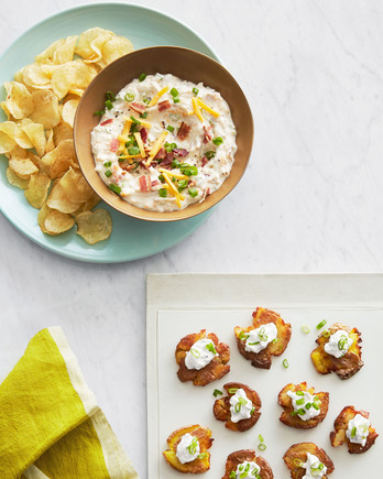 potato appetizers dip and baked smashed potatoes bites