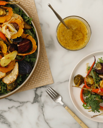 Watch: Roasted-Vegetable Salad with Garlic Dressing IMAGE