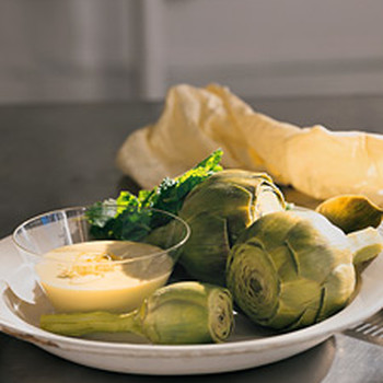 Steamed Artichokes with Lemon Mayonnaise