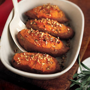 Twice Baked Sweet Potatoes with Sage and Pecans