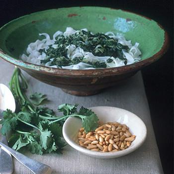 Rice Noodles with Cilantro Pesto