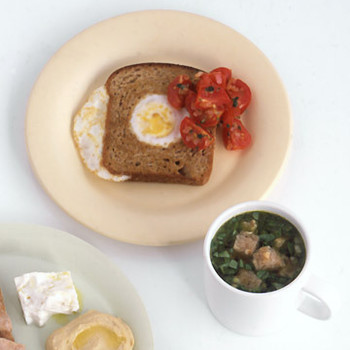 Egg-In-The-Hole Toasts With Cherry Tomato Salsa