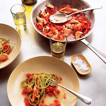 Salmon Pasta with Spicy Tomato Sauce