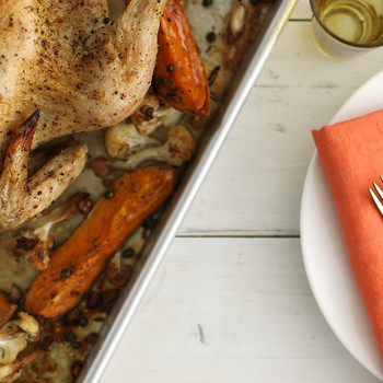 Roast Chicken with Cauliflower and Sweet Potatoes