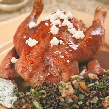 Pomegranate-Glazed Cornish Game Hens with Wild Rice-Chestnut Stuffing and Yogurt Sauce