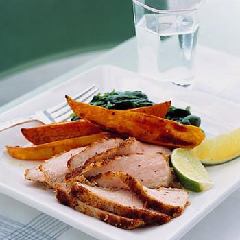 Boneless Pork Chops and Roasted Yam Fries