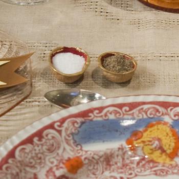 Gilded Walnut Salt and Pepper Cellars