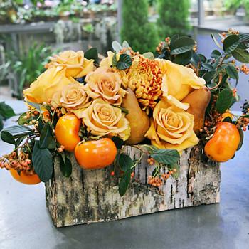 Flower Arrangement in a Birch-Bark Vessel