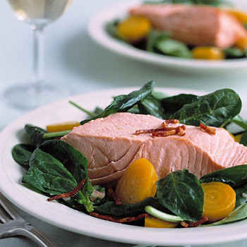Salmon and Golden Beet Salad with Crisp Bacon