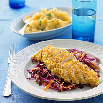 Cornflake-Crusted Chicken with Red Cabbage Slaw and Rutabaga Potatoes