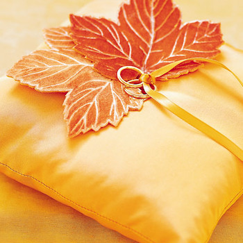 A Lasting Impression: Embossed Velvet Leaf Ring Pillow