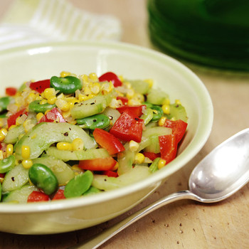 Corn, Fava Bean, and Cucumber Succotash