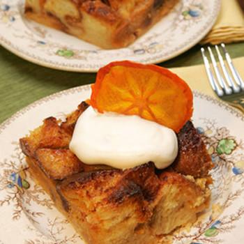 Persimmon White Chocolate Bread Pudding