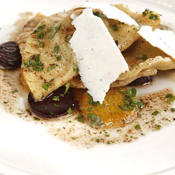 Beet Green Pierogi with Mixed Summer Beets, Brown Butter Sauce, and Ricotta Salata