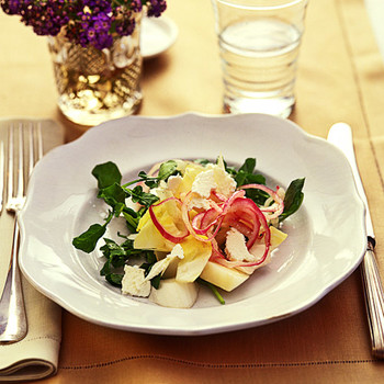 Endive and Watercress Salad with Quick Pickled Red Onions