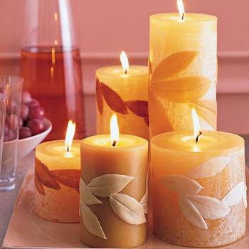 Leaf-Covered Candles
